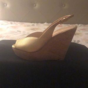 Gold Sling back wedge shoe